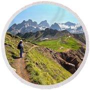 Dolomiti - Trekking In Val Ldi Fassa Round Beach Towel