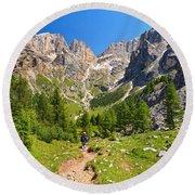 Dolomiti -landscape In Contrin Valley Round Beach Towel