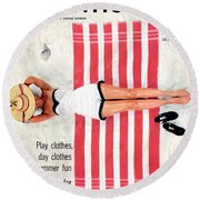 Dolores Hawkins On A Beach Round Beach Towel