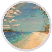 Dolphin Bay Round Beach Towel by The Beach  Dreamer