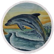 Dolphin Jumping Round Beach Towel