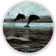 Dolphin Pair-in The Air Round Beach Towel