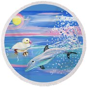 Dolphin Plays With Duckling Round Beach Towel