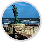 Dolphin Statue Round Beach Towel