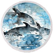 Dolphins In Gran Canaria Round Beach Towel