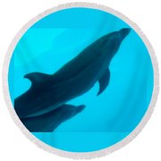 Dolphins Photo Round Beach Towel
