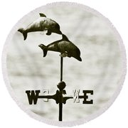 Dolphins Weathervane In Sepia Round Beach Towel by Ben and Raisa Gertsberg