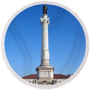Dom Pedro Iv Monument In Lisbon Round Beach Towel