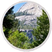 Dome Next To Half Dome Seen From Yosemite Valley-2013 Round Beach Towel