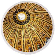 Dome Of St Peter's Basilica Vatican City Italy Round Beach Towel