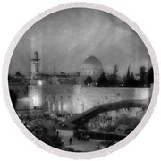 Dome Of The Rock -- Black And White Round Beach Towel