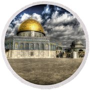 Dome Of The Rock Closeup Hdr Round Beach Towel