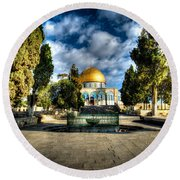 Dome Of The Rock Hdr Round Beach Towel by David Morefield