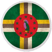 Dominica Flag Vintage Distressed Finish Round Beach Towel