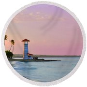 Dominican Lighthouse Round Beach Towel