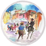 Don Quijote And Sancho Panza Entering Toledo Round Beach Towel