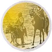 Don Quixote Rides Again Round Beach Towel