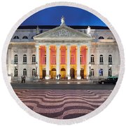 Dona Maria II National Theater At Night In Lisbon Round Beach Towel