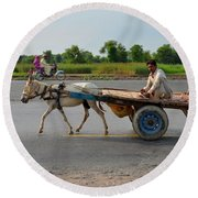 Donkey Cart Driver And Motorcycle On Pakistan Highway Round Beach Towel