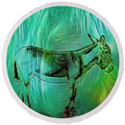Donkey-featured In Nature Photography Group Round Beach Towel