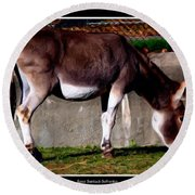 Donkey With Oil Painting Effect Round Beach Towel
