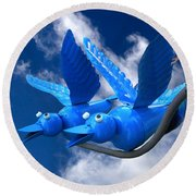 Donna's 1st Blue Bird Flight Round Beach Towel
