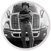 Don't Mess With My Truck Round Beach Towel