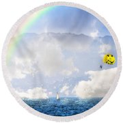 Dont Worry Be Happy Round Beach Towel