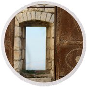 Door And Window Of The Old World Round Beach Towel