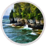 Door County Cave Point Cliffs Round Beach Towel