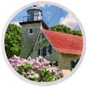 Door County Eagle Bluff Lighthouse Lilacs Round Beach Towel by Christopher Arndt