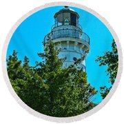 Door County Wi Lighthouse Round Beach Towel