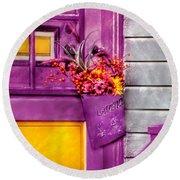 Door - Lavender Round Beach Towel by Mike Savad