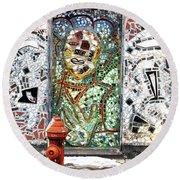 Door Mosaic Round Beach Towel