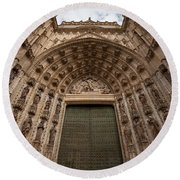 Door Of Assumption Of The Seville Cathedral Round Beach Towel