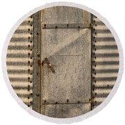 Door On An Old Metal Silo Round Beach Towel