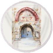 Door Series - Door 4 - Prison Of Apostle Peter Jerusalem Israel Round Beach Towel