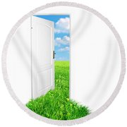 Door To New World. Version 2 Round Beach Towel