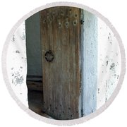 Door To The Old Lighthouse Round Beach Towel