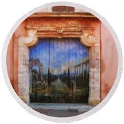 Door With A View Round Beach Towel