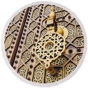 Doors Of The Hassan Mosque In Rabat Round Beach Towel