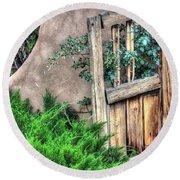 Door, Santuario De Chimayo Round Beach Towel