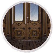 Doors To The Old West Round Beach Towel