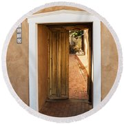 Doorway - Mesilla New Mexico Round Beach Towel