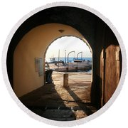 Doorway To The Sea Round Beach Towel
