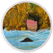 Doorway To The Sun Round Beach Towel