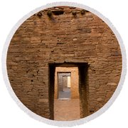 Doorways In Pueblo Bonito Round Beach Towel