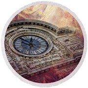 D'orsay Clock Paris Round Beach Towel