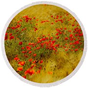 Dots Of Red Round Beach Towel