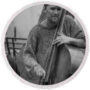 Double Bass Player Round Beach Towel by David Morefield
